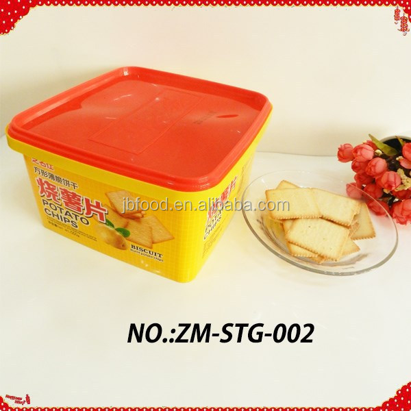 550g square shape potato chips biscuit in tin box