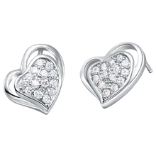 fashion earring platinum color plated light weight earrings white crystal cubic zirconia earings