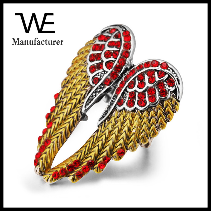 Fashion Jewelry Stainless Steel Colorful Red Gemstone Peacock Feather Rings