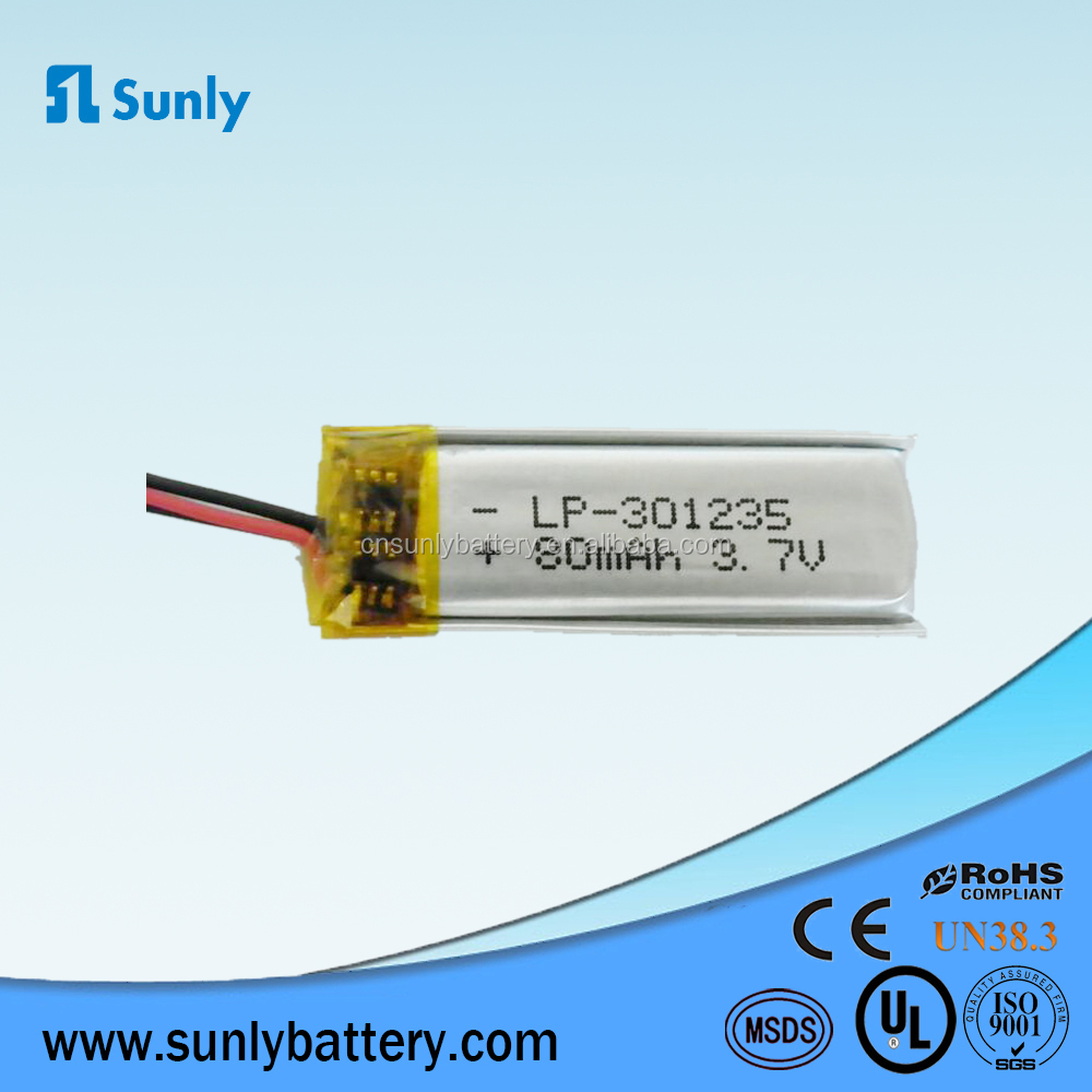 rechargeable 301235 lipo 3.7v 90mah polymer lithium battery