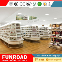 wooden round cosmetic island display 2pac glossy painting store fixture with high end quality