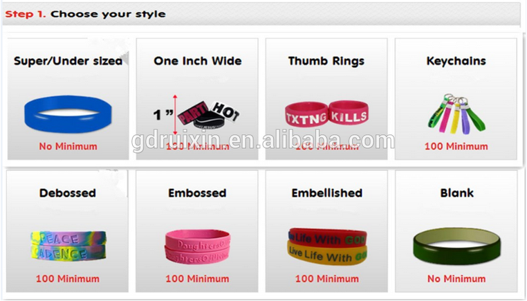 custom half inch debossed without ink filled silicone wristbands no minimum