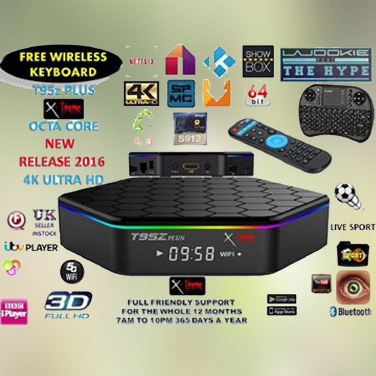High speed low price Amlogic S912 octa core 2gb ram Android 6.0 T95Z PLUS cable tv set top box
