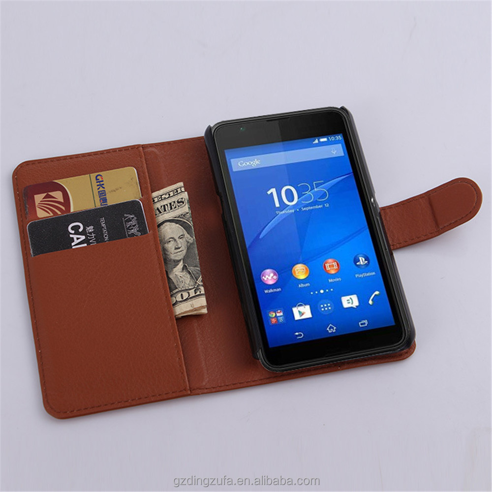 Genuine Leather Phone Housing Lichee Stripe Wallet Mobile Phone Case For Sony Xperia E4G