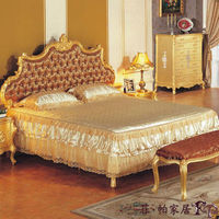 italian furniture bedroom - all golden leaf gilding bedroom set foshan furniture