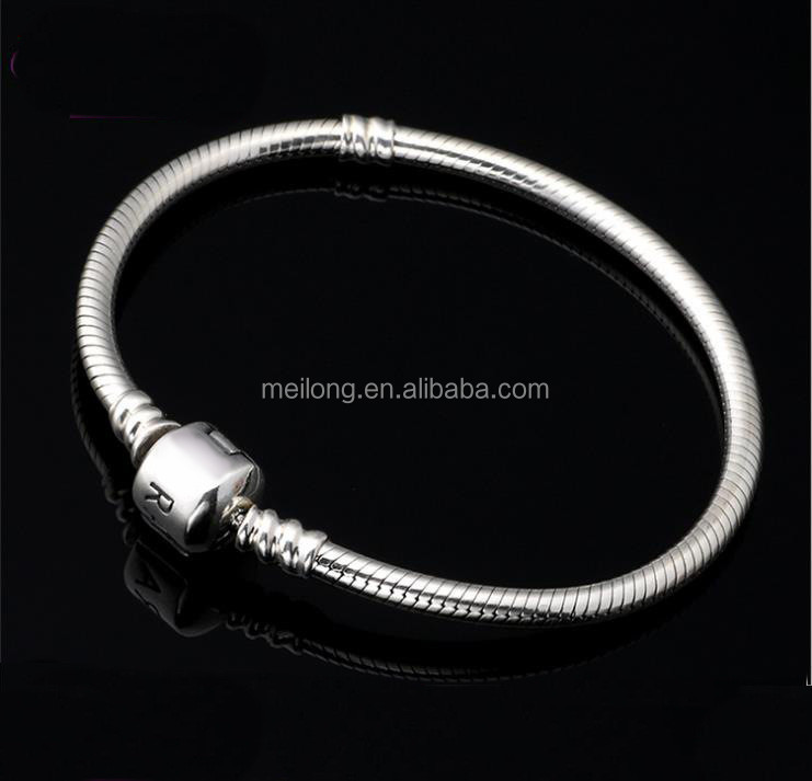 Wholesale WXB001 high quality European 925 silver snake chain bracelet for charms and beads