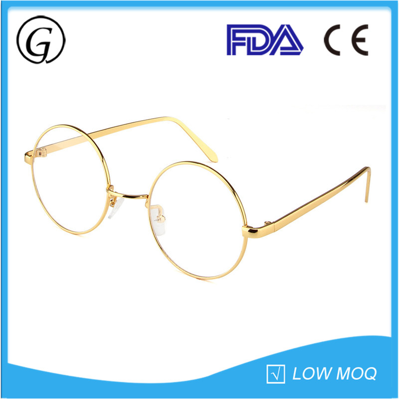 2016 Popular Metal Vintage Optical Round Eyeglasses with Silicon Nose Pads