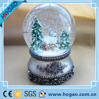 Custom 100mm Musical Glass Water Snow Globe For Christmas Deco