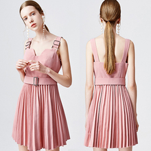 High Quality Women clothing Summer pleated linen dress