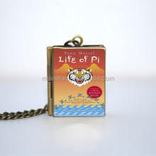 Life of Pi Book Locket Necklace keyring silver & BRONZE tone