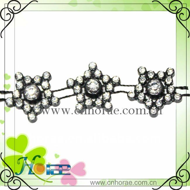 star shape plastic rhinestone trimming for garments,strass lace trimming