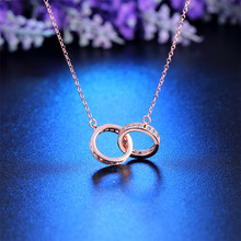 High quality 18K Rose Gold Plating brand 925 Sterling Silver Jewelry fashion Necklace LOVE letter pendant necklace