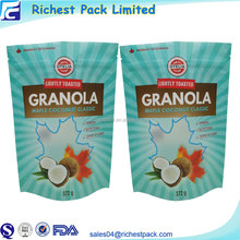 Laminated Material Organic Granola Packed Bag Stand Up Zip Lock Bags Pouch For Coconut Crisps
