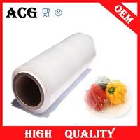 Transparent stretch plastic wrap for gift baskets