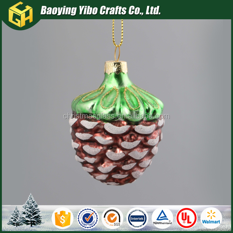 Hanging Glass Pine cone decoration in Christmas tree