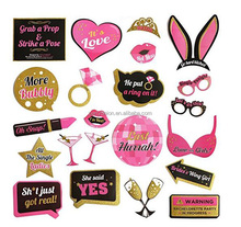23 pcs Bachelorette Party Photo Booth Props Kit - Real Gold Glitter - Bridal Shower Hen Party Games