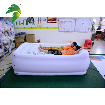 Fascinating White PVC Airtight Inflatable Bed Shape , Durable Air Bed Model For Sale