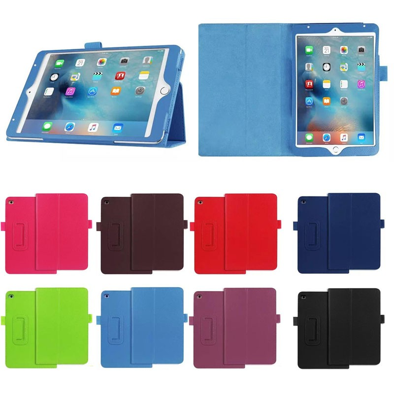 New Products Two Folding Litchi Texture PU Leather Stand Case for iPad Mini4 , for iPad Mini 4 case cover