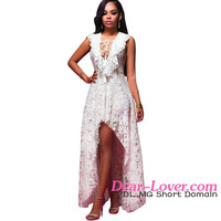 Japan Style White Lace High Low Maxi Long Dresses for Prom