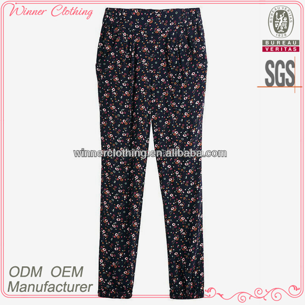 sweet/cute girl/lady floral print trousers/pants design 100% cotton casual/daily wear cotton trousers new design
