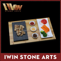 The Handy House Lava Rock Grill Stone Set, hot cooking steak stone, Steak Stone and Plate Set