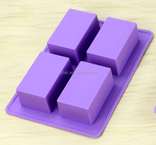 Wholesale Handmade DIY 4 cavity durable Rectangle shape silicone soap molds
