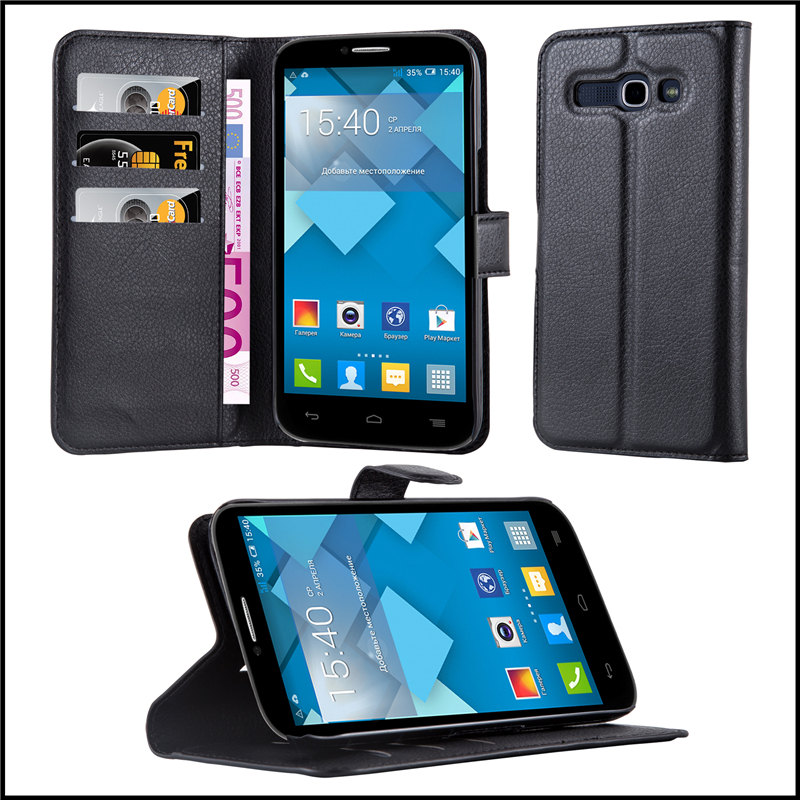 Wallet Leather Moblie Phone Case Cover with Card Slots for ALCATEL OT-7047D POP C9 5.5""