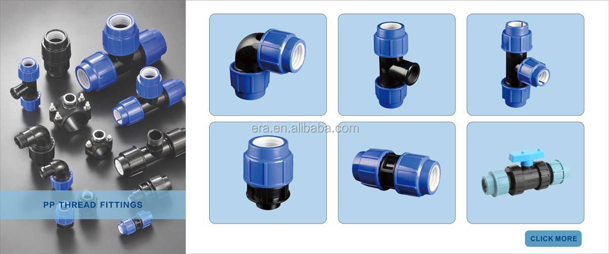 ERA  PN16 PN10 PP Compression plastic irrigation fittings reducing coupling