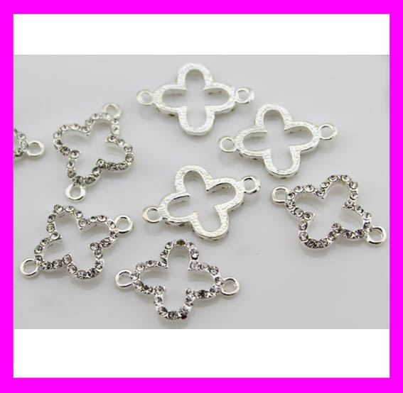 New wholesale jewelry rhinestone silver clover charm connectors H1934