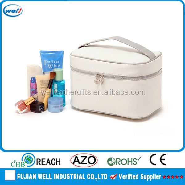 Beige white custom faux leather cosmetic bag beauty case