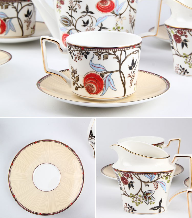 Large Capacity Porcelain Coffee And Tea Set With Pot And