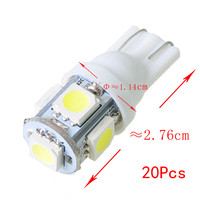 Hot Sale 20pcs in one pack T10 Wedge 5-SMD 5050 LED Car Light bulbs 192 168 194 2925 W5W DC 12V