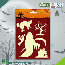 BSCI factory audit Halloween 3D non toxic decorative removable fluorescent sticker paper