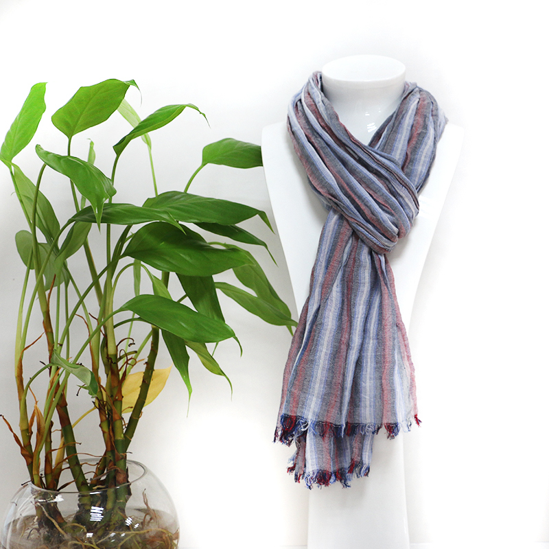 Chinese design custom stripe plain fold 100 % cotton fashionable scarf with high quality