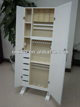 White Large Size Customized double-door Jewelry Armoire with cabinet drawers mirrored dressing mirror
