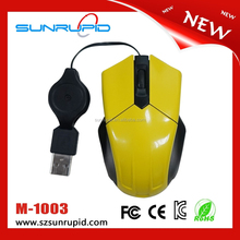 Small size optical mini mouse, thumb mouse with retractable cable for business