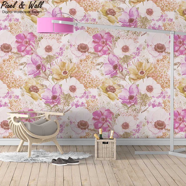 Watercolor poppy natural wallpaper paper flower <strong>wall</strong> for bedroom PW201801300403