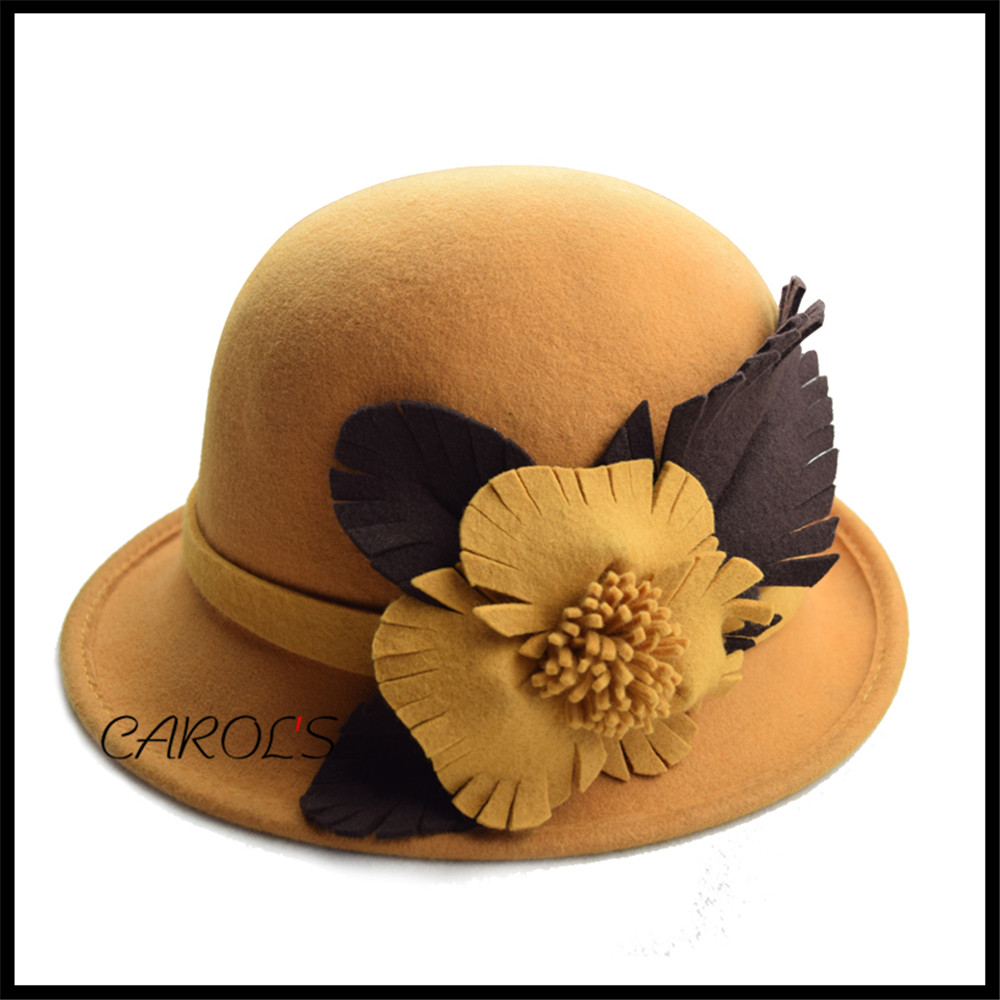 Elegant Flower Wool Felt Cloche Hats For Women Wholesale Lady Cloche Hat