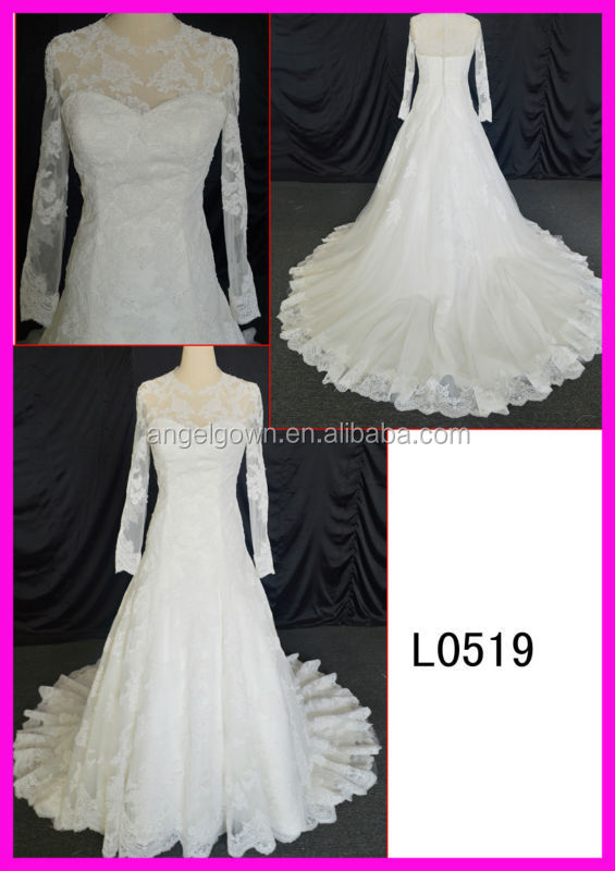 L0519 classical style mermaid lace muslin long sleeveles wedding dress