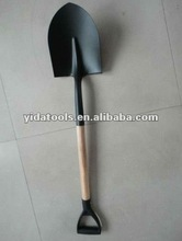 Y-hardwood handle round point construction shovel