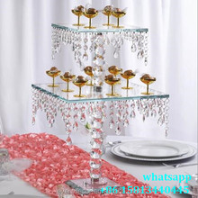 Newest 2 tier square glass cake stand with hanging crystals wedding stand for cup cake