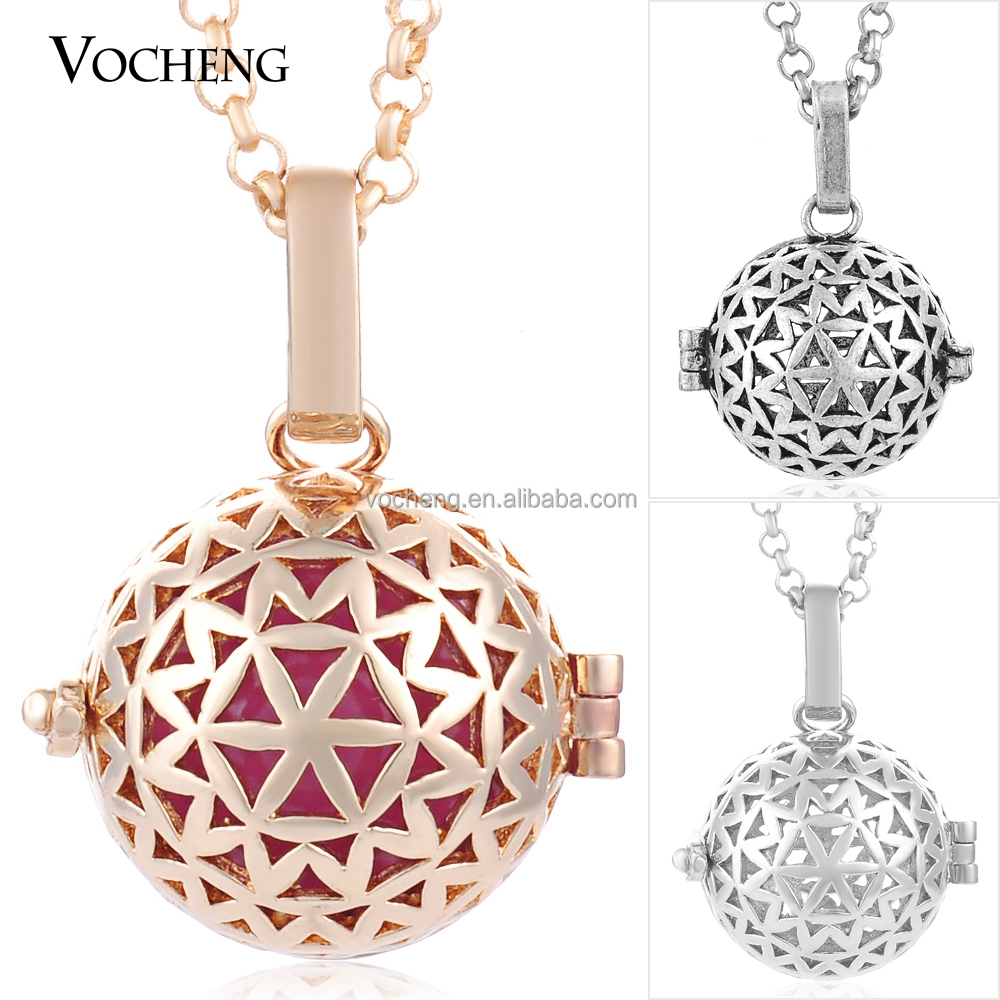 10pcs/lot Wholesale 3 Colors VOCHENG bola ball Necklace VA-198*10 Free Shipping
