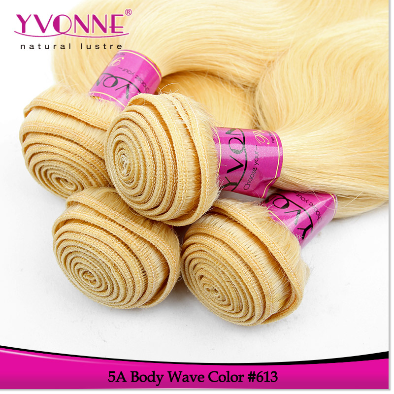 Top selling product color 613 peruvian hair extension blond human weave