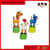 wooden baby toy push up animal toy
