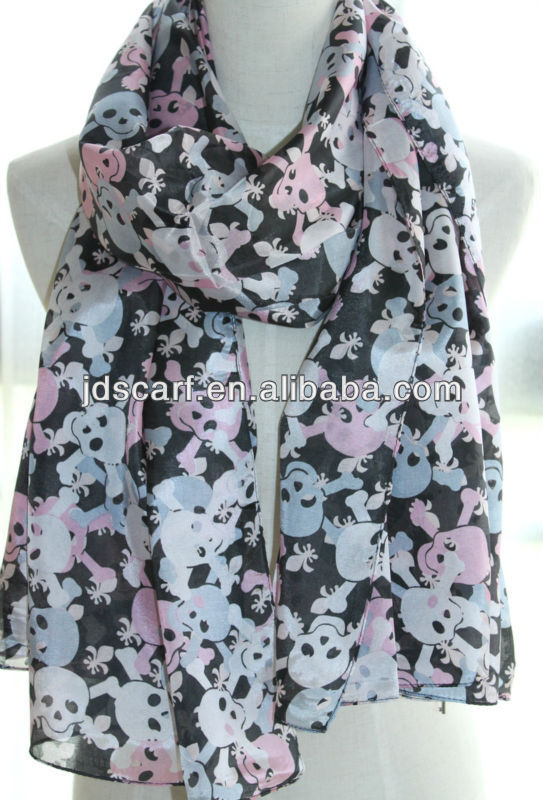 skull pattern scarf 2013 2014 hot arab hijab muslim fashion scarf
