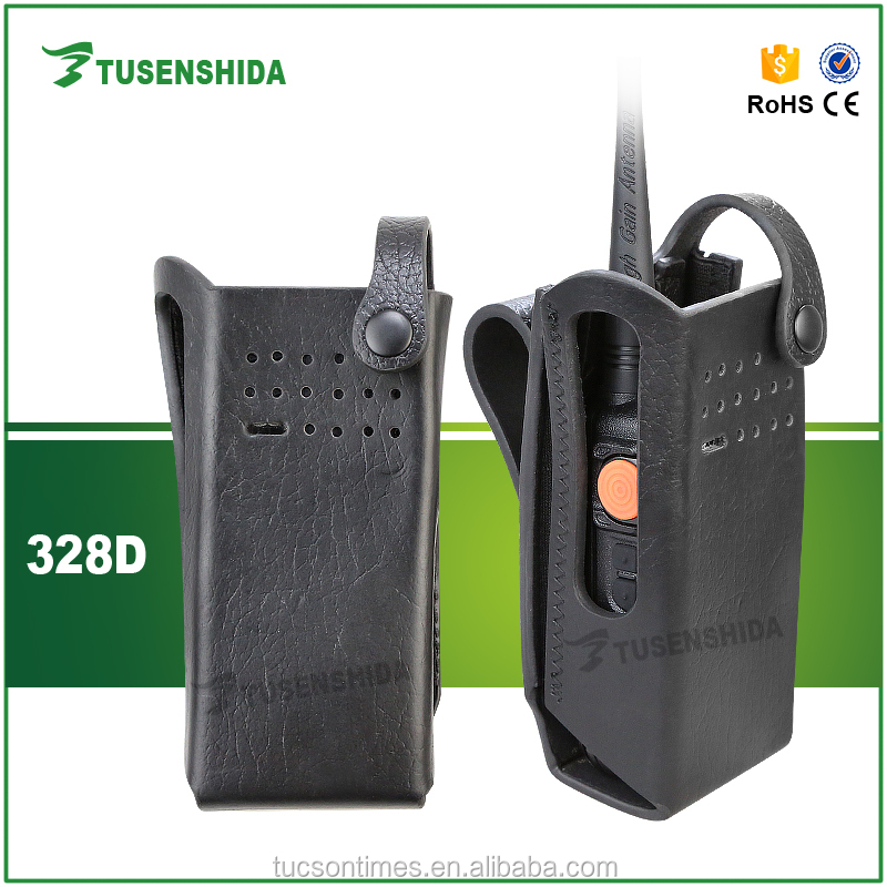 Professional leather soft case holster for walkie talkie