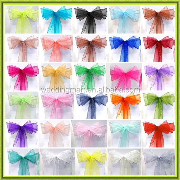 Top sale fancy cheap organza chair sash for wedding decoration