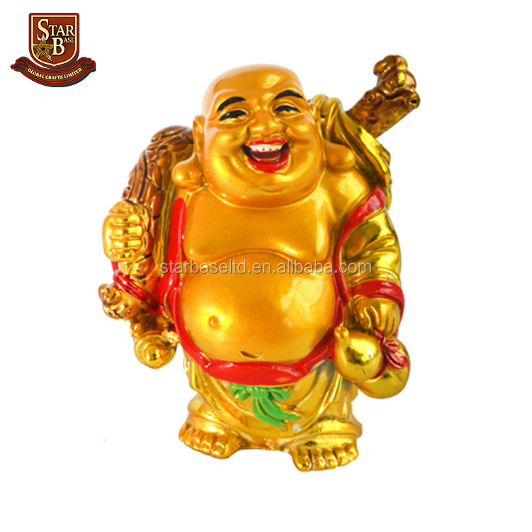 Resin mini standing wealth coin bag happy laughing maitreya buddha statue for sale