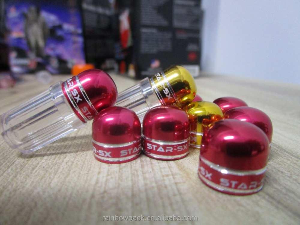 Rhino Capsule Aluminum Cap Bullet Shell Container / Blue / Red / Yellow Cap Plastic Container For Male Sex Pill