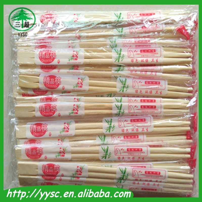 Restaurant Disposable Bamboo Chopsticks with Single Plastic Wrapper